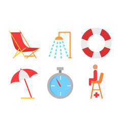 beach equipment icon in cartoon style vector image