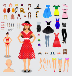 Big set for creation unique female character full vector