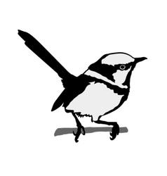 Black silhouette of wren vector