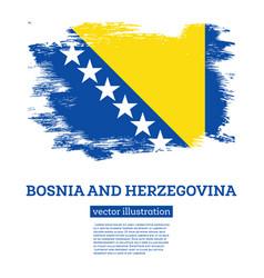 Bosnia and herzegovina flag with brush strokes vector