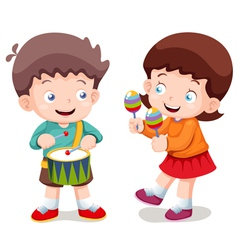 Boy and girl music vector image
