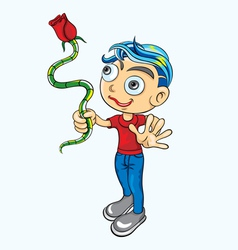 Boy with red rose vector