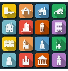Buildings flat icons vector image