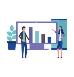 business man and woman office computer smartphone vector image