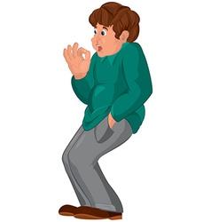 Cartoon man with brown hair in gray pants vector