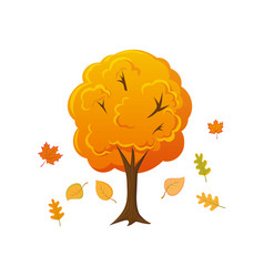 Cartoon style autumn tree with leaves falling down vector