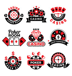 casino badges gambling poker game chips dice vector image