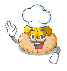 chef delicious biscuit with ice cream character vector image