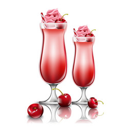 Cherry cocktail drinks fresh smoothie in vector