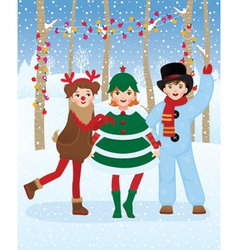 Children in Christmas carnival costumes vector image