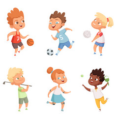 Children outdoors in action sports activity vector