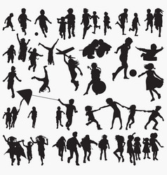 children playing outside silhouettes vector image