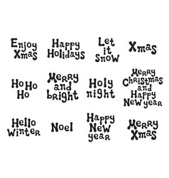 christmas and new year calligraphy phrases set vector image