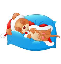 Christmas puppy sleeping on pillow vector