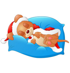 christmas puppy sleeping on the pillow vector image