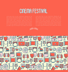 cinema festival concept with thin line icon vector image