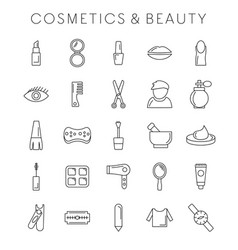 coesmetic and beauty icons set vector image