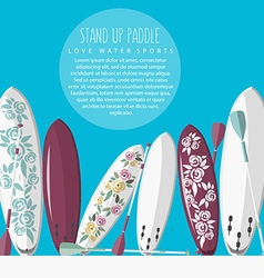 Colorful flat design style of stand up paddl vector