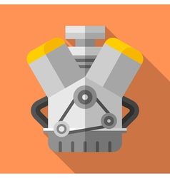 Colorful v twin engine icon in modern flat style vector