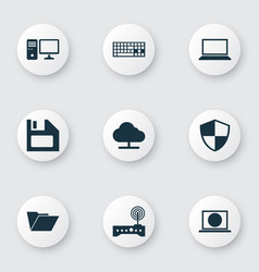 Computer icons set collection of web diskette vector