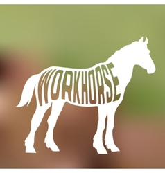 concept horse silhouette with text inside on vector image