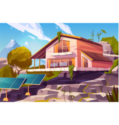 country house in mountains cartoon vector image