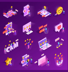 crm system isometric icons vector image