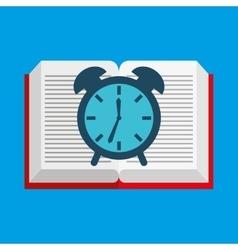 Cute boy book open clock vector