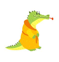 Cute cartoon crocodile wearing in orange bathrobe vector