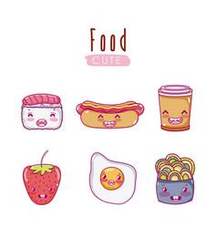 cute food kawaii cartoons vector image