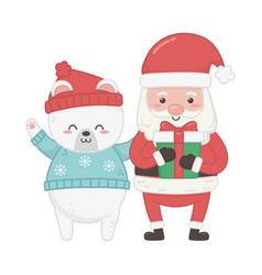 cute santa with gift and polar bear animal merry vector image