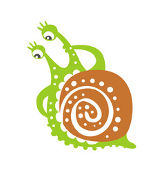 Cute thoughtful snail character funny mollusk vector