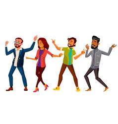 Dancing people set active woman man vector