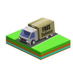delivery truck with a box 3d flat vector image