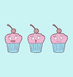 digitally drawn cupcake character design hand vector image