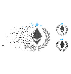 Disintegrating dot halftone ethereum laurel wreath vector