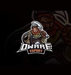 dwarf warrior mascot sport logo design vector image