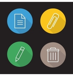 File editor flat linear icons set vector