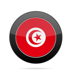 Flag of tunisia shiny black round button vector