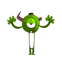 funny one eyed green monster horned fabulous vector image