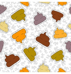 Funny poop hand drawn patch icon seamless pattern vector image