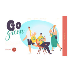 go green zero waste landing page template people vector image