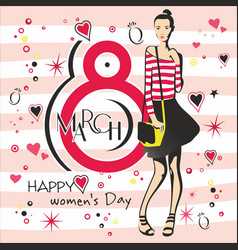 greeting card with 8 march womens day 4 vector image
