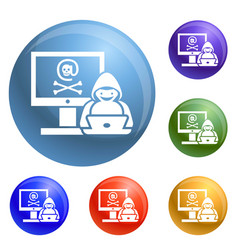 Hacker activity icons set vector