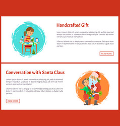 Handcrafted gift conversation with santa vector