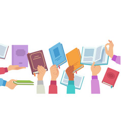 hands with books people holding and reading vector image