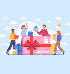 Happy male and female customers are getting a gift vector