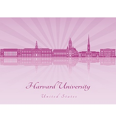 Harvard University skyline in purple radiant vector