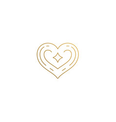heart logo with star hand drawn with thin vector image