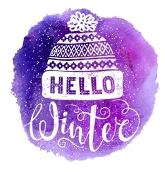 Hello winter text and knitted woolen cap on vector